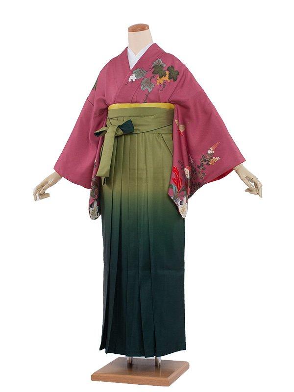 女袴(8118)ワイン地に百合/緑袴95