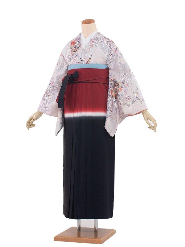 女袴(8218)薄グレー色/赤紺袴93