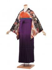 女袴(8117)黒橙/紫袴95