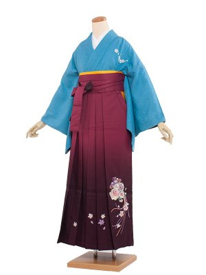 卒業袴レンタル(0113)水色/ワイン袴97
