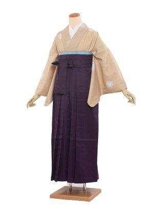 卒業袴レンタル(0033)ベージュ/紫袴