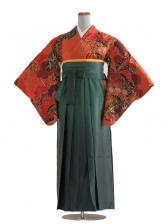 女袴(8177)朱赤に松/緑袴95