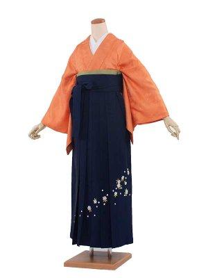 卒業袴レンタル(0333)オレンジ紋なし/紺袴