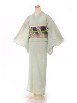 単衣 【HANAE MORI】小紋 緑 小桜 8102