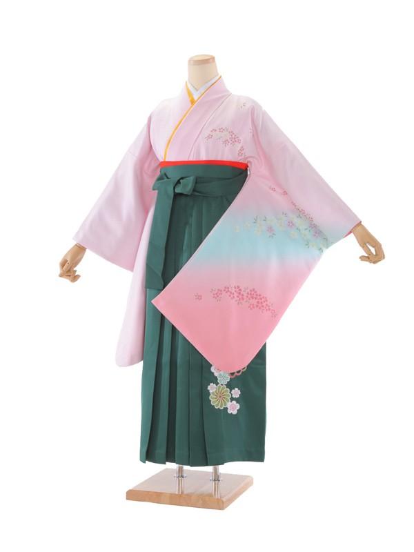 卒業袴 ピンク地コスモス×グリーン 1209