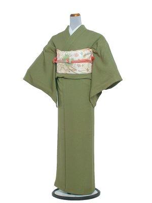 【正絹】訪問着レンタル 021 色無地/抹茶 1つ紋