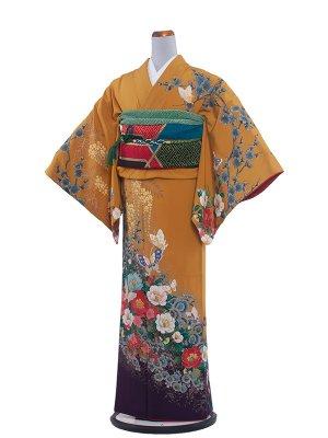 【正絹】NEO訪問着レンタル 352 からし/蝶と四季の花々
