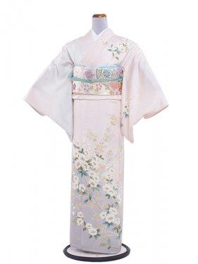 正絹単衣 95 サーモンピンク/小花