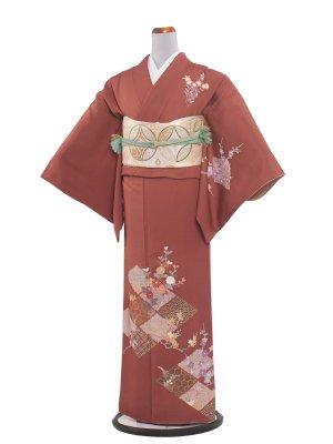 【正絹】訪問着レンタル 269 レンガオレンジ/結婚式・入学式・お宮参