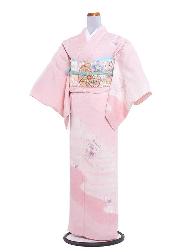 正絹単衣 92 ピンク/花