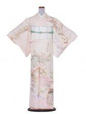 正絹単衣 98 サーモンピンク/小花