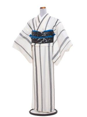 【正絹】紋紗 58 ブルーグレーの縦ぼかし
