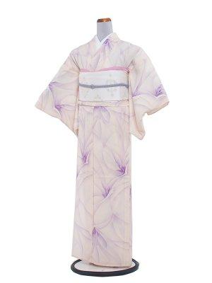 【正絹】夏小紋 絽 108 クリーム/紫洋花
