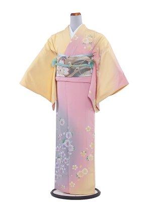 【正絹】NEO訪問着レンタル 196ピンク地・八重桜/L