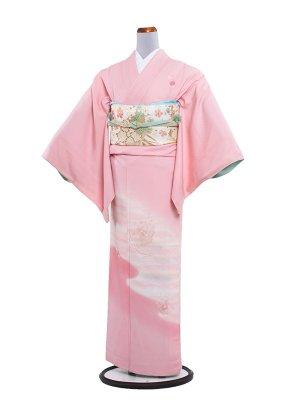 【正絹】訪問着レンタル 142ピンク地に花刺繍