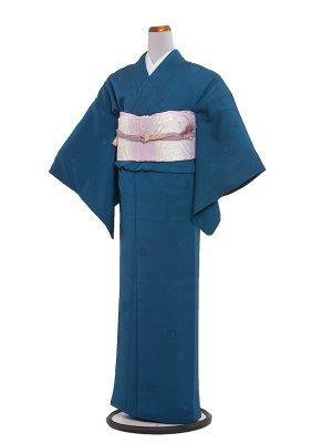 【正絹】訪問着レンタル 124 色無地/十六菊織柄ブルー