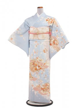 正絹単衣 94 薄水色/小花