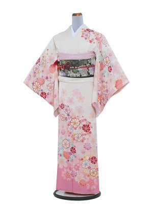 【正絹】NEO訪問着レンタル 199 白/和花と秋桜