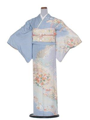 【正絹】単衣 97 アイスブルー/小菊