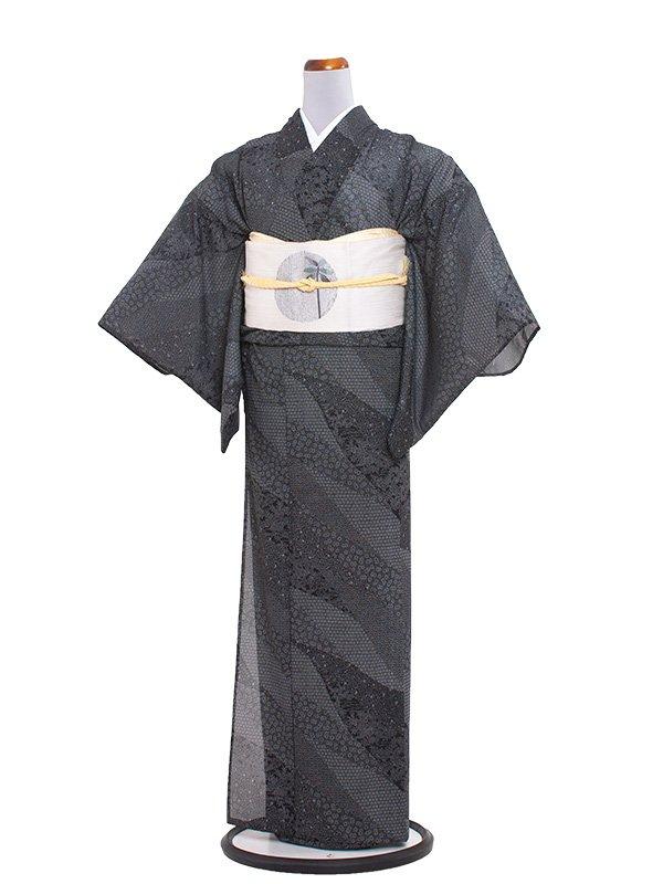 正絹絽 45 黒/夏小紋