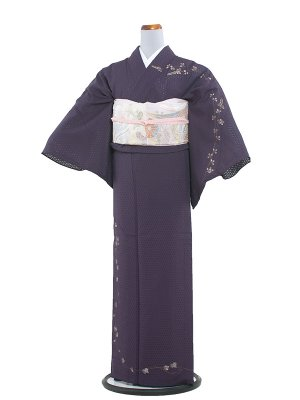 【正絹】紋紗 43 紫/夏着物