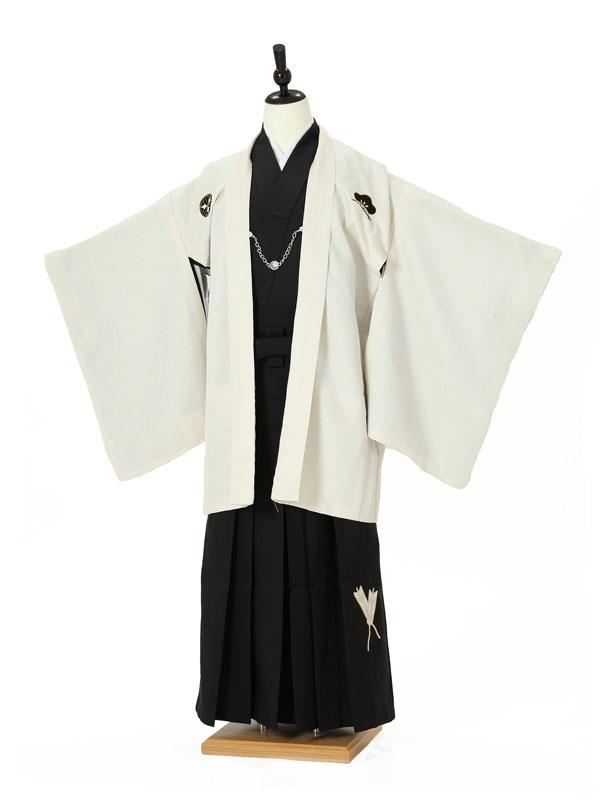 小学校卒業式ジュニア袴男0008 ベージュ紋付/黒袴矢羽根