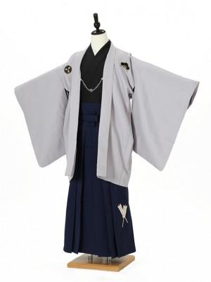 小学校卒業式ジュニア袴男0010 グレー紋付/紺袴矢羽根