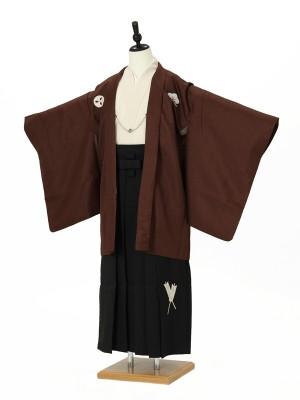 小学校卒業式ジュニア袴男0009 茶色紋付/黒袴矢羽根