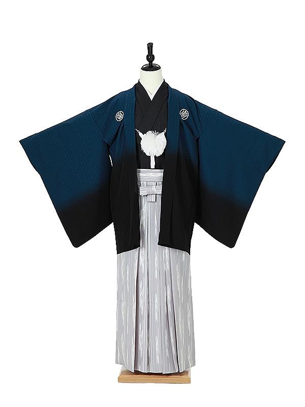 ジュニア袴男0004 紺黒ぼかし/灰色矢絣袴