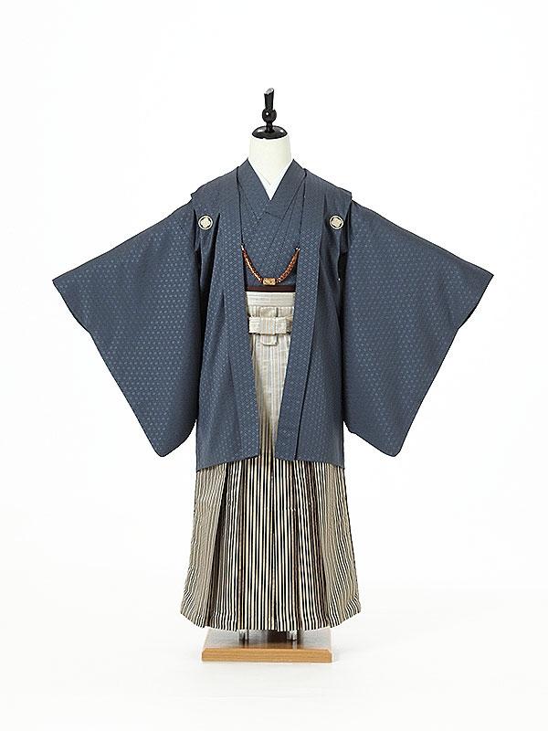 ジュニア袴男0006 紺紋付/銀ぼかし縞袴