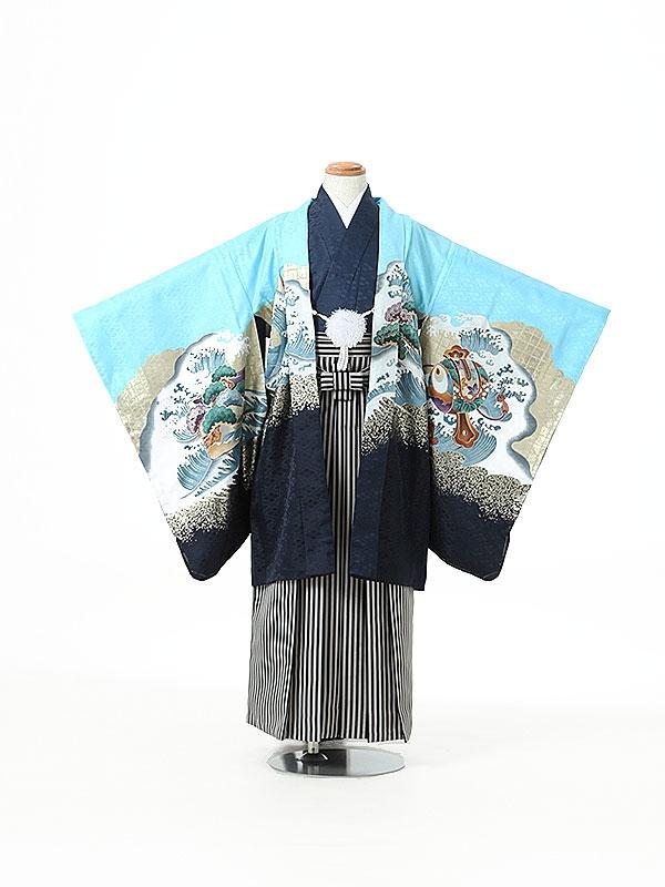 ジュニア袴男0005 水色×紺 鷹/宝船/小槌/波/黒縞袴