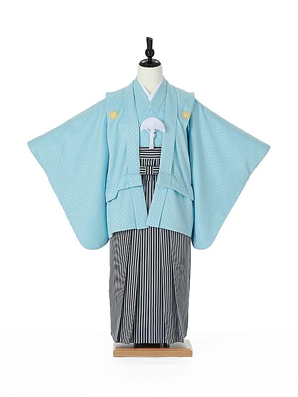 ジュニア袴男0003 水色紋付/黒縞袴
