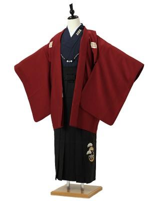 小学校卒業式ジュニア袴男0015 えんじ色紋付着物紺/黒袴松