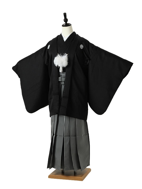 小学校卒業式ジュニア袴男0012 黒紋付/黒縞袴