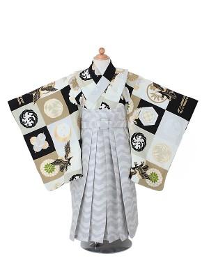 卒園式ジュニア袴男0001 クリーム 鷹/家紋柄/グレー袴 ジャパンスタイル