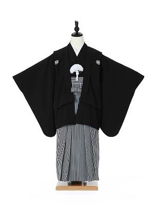 小学校卒業式ジュニア袴男0002 小さめ/黒紋付/黒縞袴