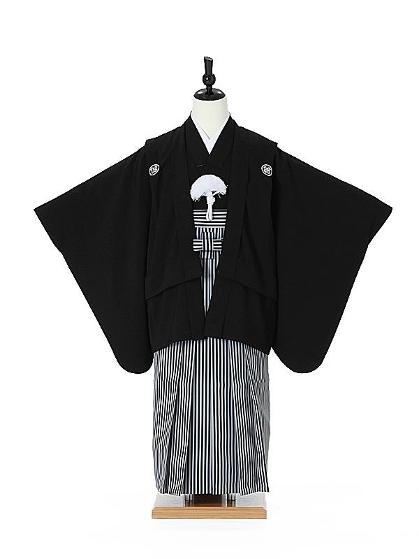 ジュニア袴男0002 黒紋付/黒縞袴