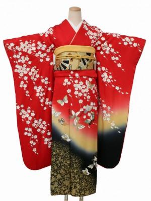 振袖1380赤地桜と蝶の舞