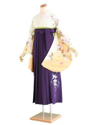 卒業袴003黄/花柄 M