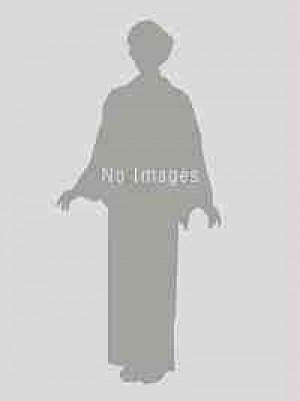 白色地ブルーグレーぼかし地・鷹・松・扇・黒×シルバー色縞袴