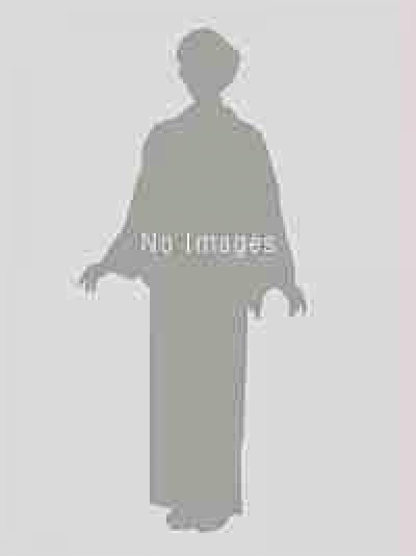 ブルーグレー黒地・兜・龍・波羽織着物・黒グレー縞袴