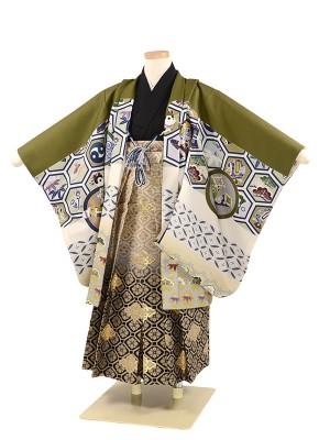 七五三 5歳男袴 式部浪漫 緑 鷹