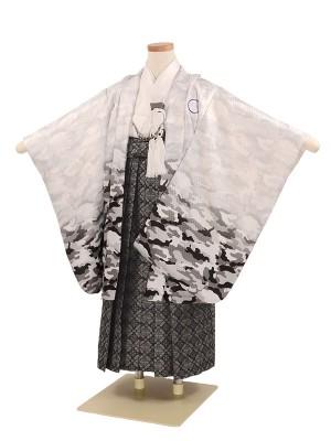 七五三 5歳男袴 迷彩 白 カモフラージュ