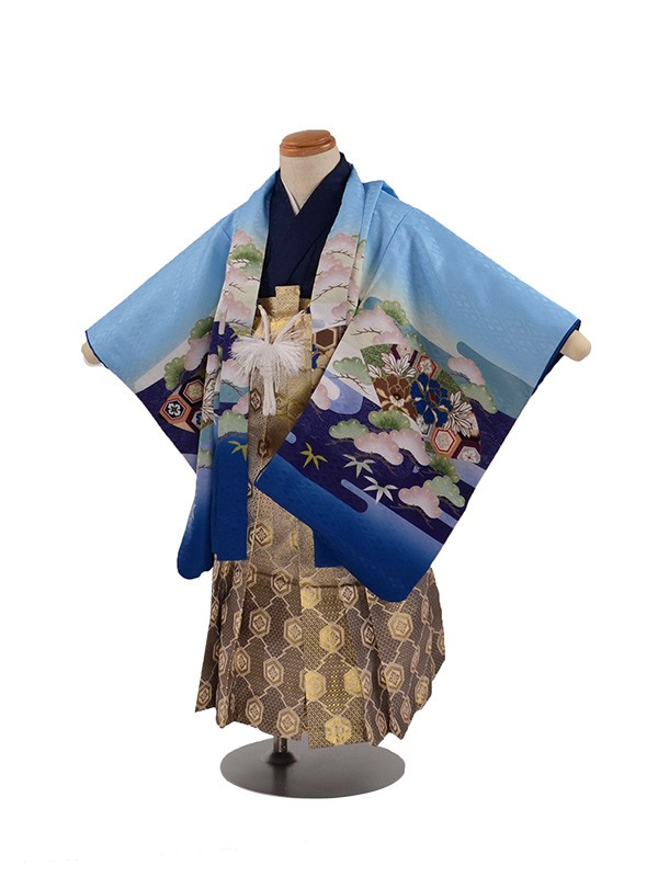 七五三 3歳男袴 水色 兜 扇子 松