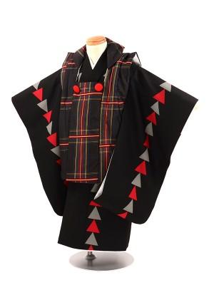 七五三 3歳被布 黒 タータンチェック 赤三角