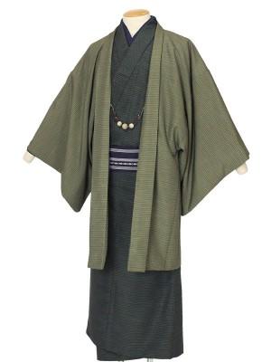 ワンタッチ 男 袷(M 168-173cm)緑