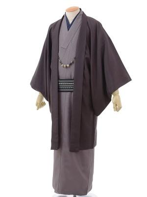 ワンタッチ 男 袷(L 174-179cm)紫