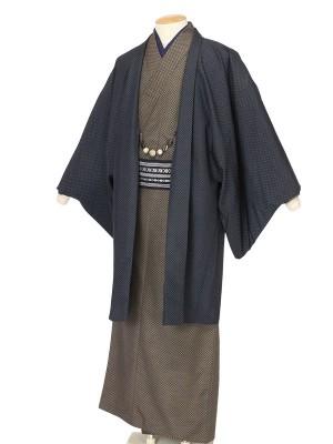 ワンタッチ 男 袷(XL 178-183cm)茶