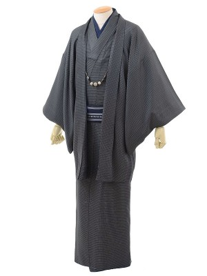 ワンタッチ 男 袷(M 168-173cm)グレー