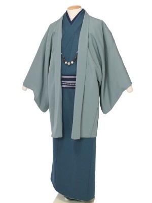ワンタッチ 男 袷(L 173-178cm)緑